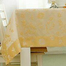 American style,home tischdecke,vintage tischdecke.drucken,deluxe tischtuch.lÄndlichen] moderne landschaft edge teetisch sauber längliche tischdecke.mehrere farben.gelb-Gelb 140x200cm(55x79inch)