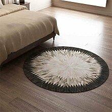American Style Rindsleder Runde Teppich Schlafzimmer Nachttisch Wohnzimmer Couchtisch Sofa Korb Computer Stuhl Manuelle Stitching Teppich ( größe : Diameter120cm )