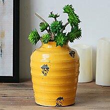 American textured keramik vase simulation bouquet set wohnzimmer restaurant dekoration dekoration-G
