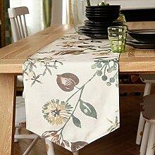 American Vintage Leinen Doppel Ländlichen Tischläufer,Tabelle Tabelle Tabelle Läufer Und Anti-rutsch Minimalistischen Bett-A 35x220cm(14x87inch)