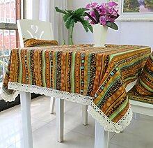 Amerikanische Baumwoll-Leinen Tischdecke Couchtisch Tuch Nachttisch Schrank Schrank Hausdekoration Tischdecke rechteckige Tischdecke große Tischdecke , #2 , 140*220cm