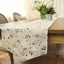 Amerikanische Baumwolle und Leinen Tischl?ufer/Garten frische print TV Schrank Tisch Tischl?ufer/Bett-banner-D 35x200cm(14x79inch)