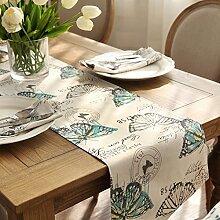 Amerikanische Baumwolle und Leinen Tischl?ufer/Garten frische print TV Schrank Tisch Tischl?ufer/Bett-banner-B 35x200cm(14x79inch)