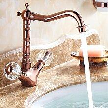 Amerikanische continental Cu alle Küche Wasserhahn drehen Rose Gold Desktop goldene Becken heiße und kalte Mischbatterie, Cu alle Becken oder Spüle schneiden heiße und kalte Dusche - Rose Gold