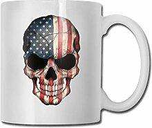 Amerikanische Flagge Schädel Mode Kaffeetasse