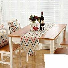 Amerikanische Gestreifte Gedruckten Tischläufer/Europäische Garten Wind Tabelle Tischläufer/TV Schrank Tisch Tischläufer-C 30x220cm(12x87inch)