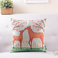 Amerikanische landwirtschaftliche Pastoral-Sofa-Kissen Baumwolle Leinen Kissen Lendenkissen Nachtkissen Lendenkissen mit Core ( farbe : # 2 )