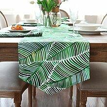 Amerikanische pastoral clear green pflanze reine baumwoll-canvas tischläufer tv-läufer-A 35x180cm(14x71inch)