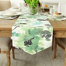 Amerikanischen Print Tischläufer,Europäische Garten Wind Tabelle Tischläufer,TV Schrank Tisch Tischläufer-E 35x160cm(14x63inch)
