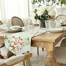Amerikanischen Print Tischläufer,Europäische Garten Wind Tabelle Tischläufer,TV Schrank Tisch Tischläufer-A 35x200cm(14x79inch)