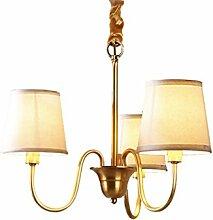 Amerikanischen stil land drei lichtquelle kupfer wohnzimmer lobby kronleuchter, einfache tuchkunst schlafzimmer flur büro garderobe lampe (gold)