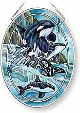 Amia Breath of Power Orcas, oval, Glas, Mehrfarbig