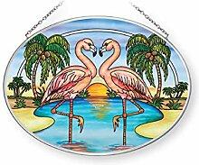 Amia Flamingo-Herz, mittelgroß, oval, aus Glas,