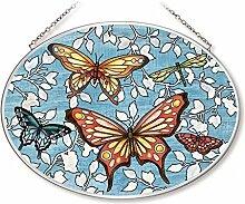 Amia Mariposa Schmetterlinge Glas Oval Suncatcher