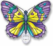 Amia Nachtlicht aus Glas mit Schmetterling-Motiv
