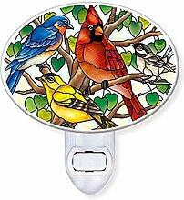 Amia Songbird Nachtlicht aus Glas, handgefertigt,