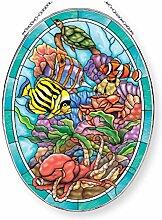 Amia Tropical Sealife, oval, Glas, Mehrfarbig