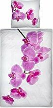 Aminata – Bettwäsche 135x200 cm Baumwolle + Reißverschluss Fotodruck Orchidee Blumen Blüten Weiß Lila Violett Bettbezug Pflanze Blümchen Blume Natur 2-teiliges Bettwäscheset Bezug Ganzjahr Normalgröße