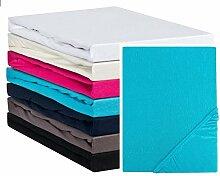 Aminata – blaues Spannbettlaken á 90x200 cm – 100x200 cm aus Jersey mit Rundumgummi in Blau Hellblau Bettlaken Spannbetttuch Laken Baumwolle Einzelbe