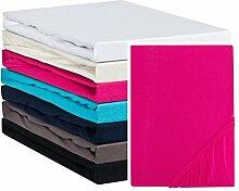 Aminata – hochwertiges Spannbettlaken á 140x200 cm – 160x200 cm aus Jersey mit Rundumgummi in Pink Rosa Magenta Bettlaken Spannbetttuch Laken Baumwolle Einzelbe