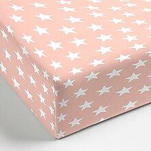 Aminata – hochwertiges Spannbettlaken á 90x200 cm aus Jersey mit Rundumgummi | Rosa mit weißen Sternen | Rosé Pink Bunt Sternchen Stars Stern Bettlaken Spannbetttuch Laken Baumwolle Normalgröße