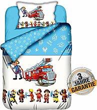 Aminata Kids Feuerwehr Bettwäsche 100x135 cm + 40