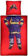 Aminata Kids Feuerwehr Bettwäsche 135 x 200 cm +