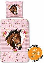 Aminata Kids süße Biber-Bettwäsche-Set Pferd