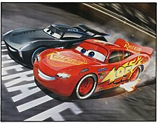 Aminata Kids Teppich Kinderzimmer Jungen Auto Disney Cars 95x125 cm * Made in Europe * rutschhemmend lärmhemmend* Kinderteppich Lightning McQueen Jackson Storm Rennwagen Spielteppich Spielunterlage