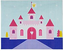Aminata-kids Teppich Kinderzimmer Mädchen Prinzessin Schloss 95x125 cm * Made in Europe * rutschhemmend lärmhemmend * Kinderteppich Rosa Blau Prinzessinnen Burg Palast Spielteppich Spielunterlage