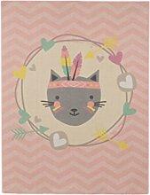 Aminata Kids - Teppiche Kinderzimmer Mädchen Rosa Tiere Katze 95x125 cm *Polyamid Kurzfloor rutschhemmend lärmhemmend* Kinderteppich Chevron Atzteken Indianer Spielteppich Spielunterlage Babyzimmer