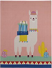 Aminata-kids Teppiche Kinderzimmer Mädchen Rosa Tiere Lama Alpaka 95x125 cm * Made in Europe * rutsch- & lärmhemmend * Kinderteppich Tierchen Kaktus Kakteen Spielteppich Spielunterlage Babyzimmer