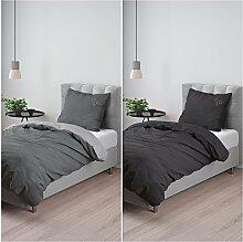 Aminata – Schwarze Bettwäsche 135x200 cm Baumwolle Reißverschluss einfarbig Schwarz mit Stickerei Sterne Goldfarben 2-teiliges Bettwäscheset unifarben Stern Sternchen Ganzjahr Bettbezug Normalgröße