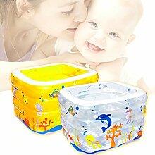 AMINSHAP Aufblasbares Pool-Baby-verdickendes quadratisches Paddel-Pool-Kinderisolierungs-Familien-faltendes Pool-Umweltschutz-Material (Farbe : Gelb, größe : 75*105*120cm)