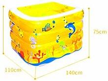 AMINSHAP Aufblasbares Pool-Baby-verdickendes quadratisches Paddel-Pool-Kinderisolierungs-Familien-faltendes Pool-Umweltschutz-Material (Farbe : Gelb, größe : 45*110*140cm)