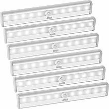 AMIR LED Schrankbeleuchtung, Nachtlicht mit Bewegungsmelder, 10 LED Batteriebetrieben Kabinett Nachtlicht, Auto On/Off PIR Motion Sensing Licht für Schlafzimmer, Küche, Gang, Schubfach, usw. (6 Packs)