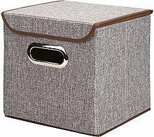 amknn Aufbewahrungsbox Leinen faltbar Korb Cube Organizer Bin Box Container Schublade mit Deckel–Grau für Büro Kinderzimmer Schlafzimmer Regal grau