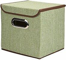 amknn Aufbewahrungsbox Leinen faltbar Korb Cube Organizer Bin Box Container Schublade mit Deckel–Grau für Büro Kinderzimmer Schlafzimmer Regal grün