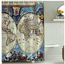 Amody Badvorhang Textil Weltkarte Duschvorhang