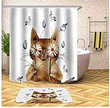 Amody Duschvorhang und Badezimmermatten Set Katze