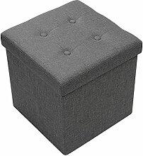 "AMOIU 38 cm Sitzhocker Ottoman Cube Sitzbank Sitzbox Aufbewahrungsbox, Leinen 15"" x 15"", Grau"