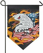 AMONKA Amerikanische Flagge Bald Eagle Fire Garten