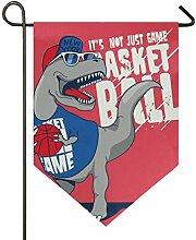 AMONKA Cool Dinosaurier Basketball Garten Flagge