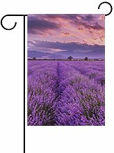 AMONKA Garten-Flagge mit Lavendelfeld,