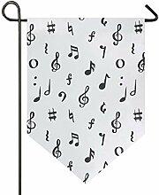 AMONKA Garten-Flagge mit Musiknoten, doppelseitig,