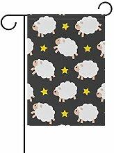 AMONKA Garten-Flagge mit Schaf- und Sternenmuster,
