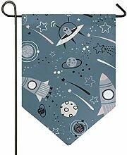AMONKA Weltraumrakete Planeten Alien Garten Flagge