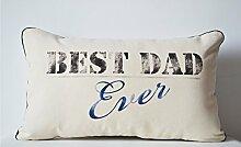 Amore Beaute Hand Bio Baumwolle Personalisierte Kissenbezüge–Best Dad Ever Kissenbezug, Geschenkidee für den–Geburtstagsgeschenk–Geschenk zum Vatertag Vater Modern 30 x 50 cm beige