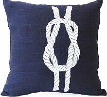 """Amore Beaute Kissenbezug aus Leinen, handgearbeitet,Marineblau, nautisches Design mit vertikalem Seemannsknoten, Geschenkidee, Leinen, blau, 26"""""""" x 26"""