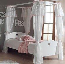 Amori Himmelbett inkl. Vorhang 90x200 cm Weiß
